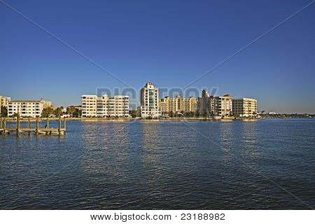 Bay Front Buildings at Sunset