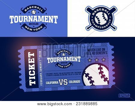 One Modern Professional Design Of Baseball Tickets And Logo In Blue Theme
