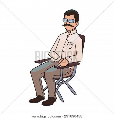 Mustachioed Man Sitting On A Folding Chair, The Director Of The Film. Vector Illustration, Isolated