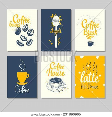 Set Of Coffee Sketch. Hot Drinks Menu. Vector Illustration With Cup, Maker And Brush Calligraphy Ill