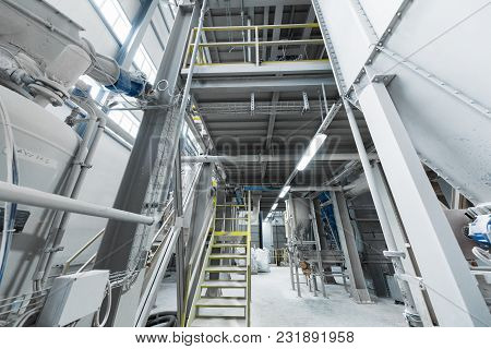 Modern Operational Plant With Grey Pipes And Ladders Heavy Industry Machinery Metalworking Workshop