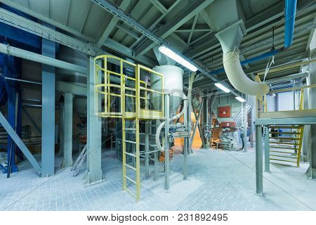 Modern Operational Plant Equipment With Pipe System Heavy Industry Machinery Metalworking Workshop C