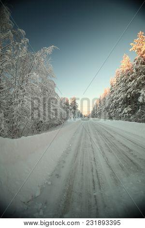 Icy Road In Vaesterbotten In Northern Sweden