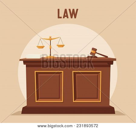 Courthouse. Cartoon Vector Illustration. Juistice Concept. Law Judicial Legal Proceedings In Courtho
