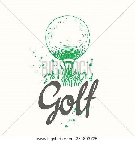 Golf. Vector Set Of Hand-drawn Sports Equipment. Illustration In Sketch Style On White Background. B