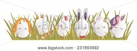Sweet Easter Egg Characters In The Grass. Funny Easter Eggs Chick Rabbit Cat And Others. Happy Easte