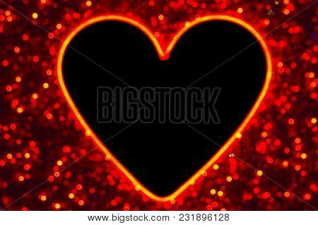 Colourful Bokeh Lights With Copyspace Heart Shape In Center To Fill With Image