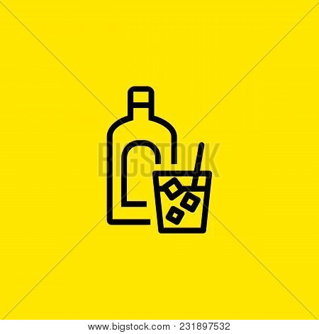 Icon Of Hard Spirit. Bottle, Glass, Whiskey. Whiskey And Bar Concept. Can Be Used For Topics Like Pu