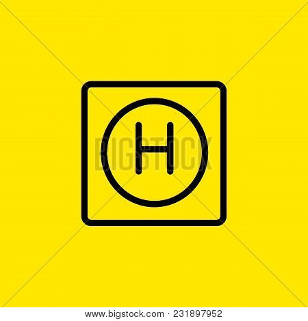 Line Icon Of Letter Helicopter Landing Sign. Hotel, Hostel, Hospital. Symbols Concept. Can Be Used F