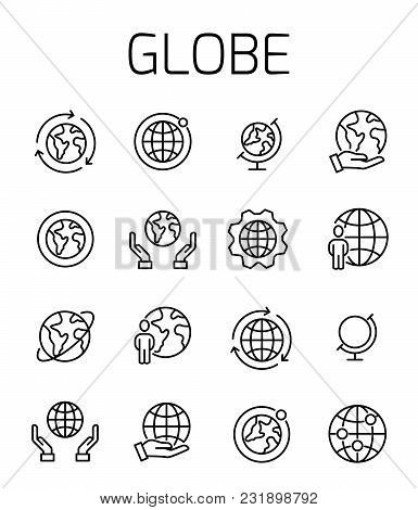 Globe Related Vector Icon Set. Well-crafted Sign In Thin Line Style With Editable Stroke. Vector Sym