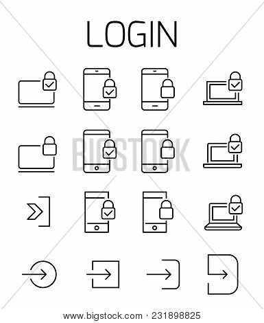 Login Related Vector Icon Set. Well-crafted Sign In Thin Line Style With Editable Stroke. Vector Sym