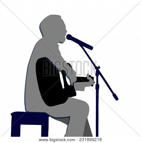 A Man Singing A Song With Playing Guitar Isolated On White Background.