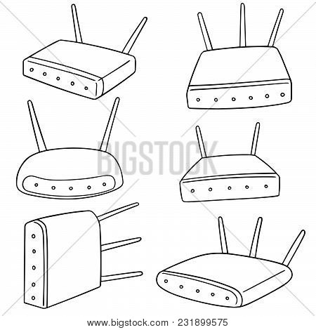 Vector Set Of Wireless Router Hand Drawn Cartoon
