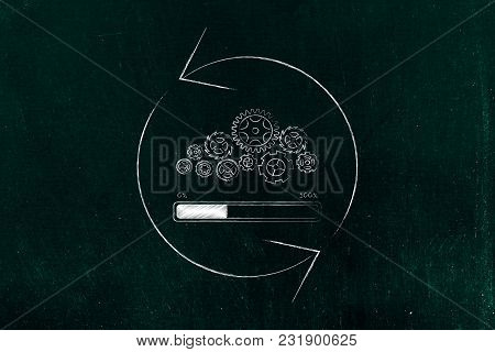 Technology Speed And Performance Concept: Gearwheel Mechanism With Progress Bar Loading And Spinning