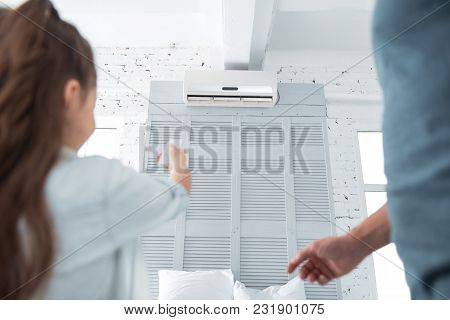 Temperature Control. Close Up Of Air Conditioner Being Used For Controlling The Temperature In The H