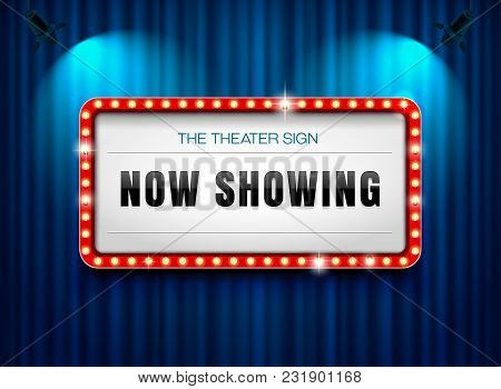 Theater Sign On Curtain With Spot Light Vector Illustration