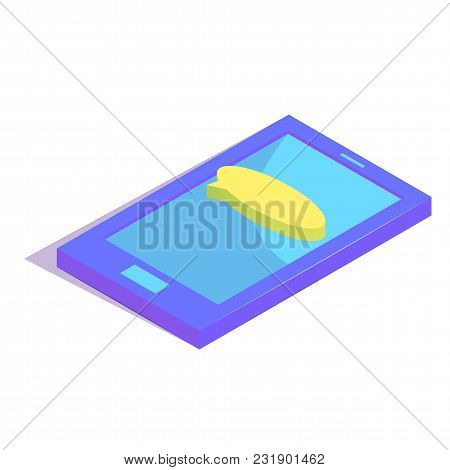 Isometric Chat Bubble On Smartphone Simple Icon. New Message Concept Vector Illustration