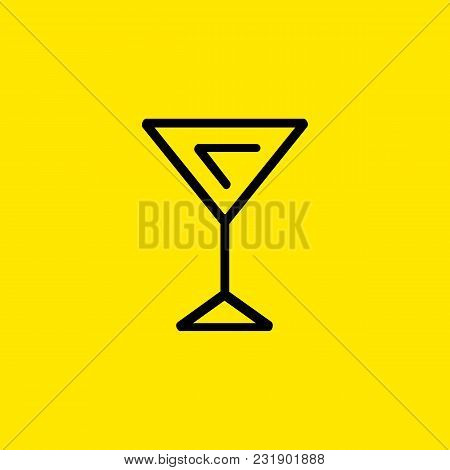 Line Icon Of Martini Glass. Glassware, Alcohol, Bar. Drinks Concept. Can Be Used For Topics Like Ent