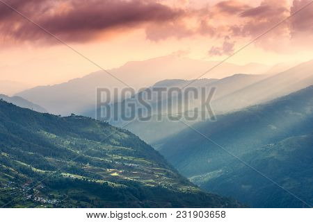 Colorful Landscape With Himalayan Mountains, Beautiful Hills With Green Meadows, Forest, Orange Sky