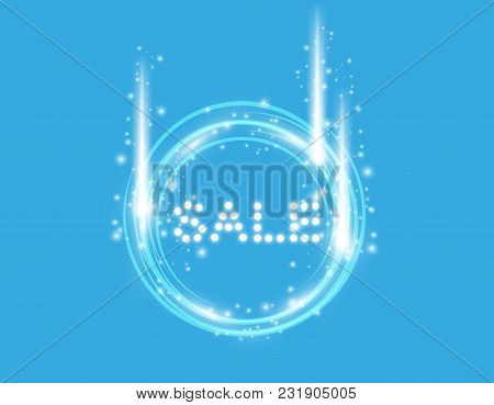 Vector Illustration With Glowing Text Sale With Ring. On The Blue Backgraund.