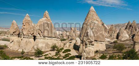 Spectacular teeth-like rock formation near Goreme, Cappadocia, Turkey