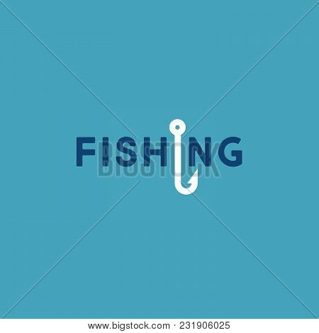 Fishing Logo. Flute Logo. Letters And A Fishing Hook On A Blue Background.