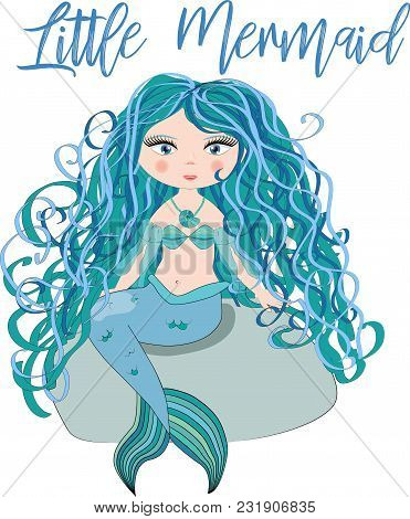 Cartoon, cute little mermaid, sea princess, siren, with blue hair, closed eyes and forked tail poster