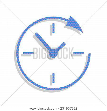 Service And Support For Customers Around The Clock And 24 Hours. Vector. Neon Blue Icon With Cyclame
