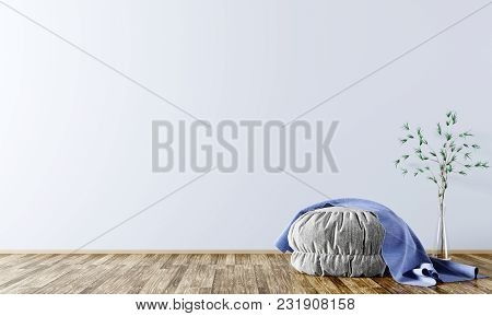 Modern Interior Background Of Living Room With Grey Pouf And Blue Plaid On It 3d Rendering