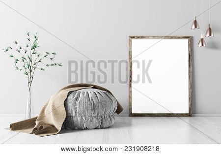 Room Interior With Ottoman, Mock Up Frame On The Parquet Floor, Lights And Vase With Branch, Backgro