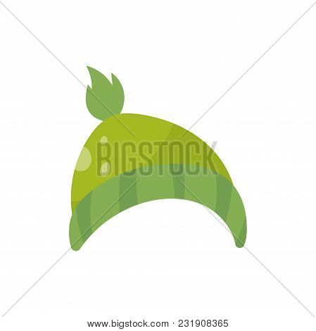 Green Knitted Hat, Boys Wear Vector Illustration Isolated On A White Background.