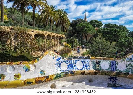 Serpentine Benches Of Park Guell