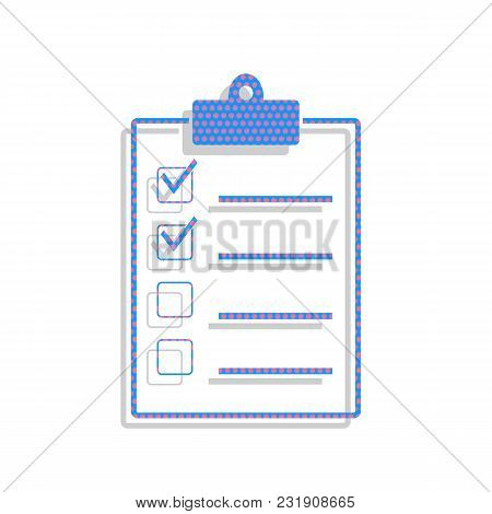 Checklist Sign Illustration. Vector. Neon Blue Icon With Cyclamen Polka Dots Pattern With Light Gray