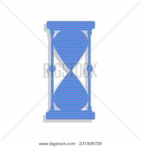 Hourglass Sign Illustration. Vector. Neon Blue Icon With Cyclamen Polka Dots Pattern With Light Gray