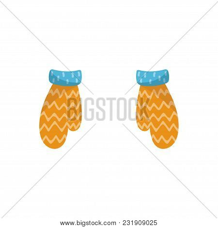 Pair Of Warm Knitted Mittens Vector Illustration Isolated On A White Background.