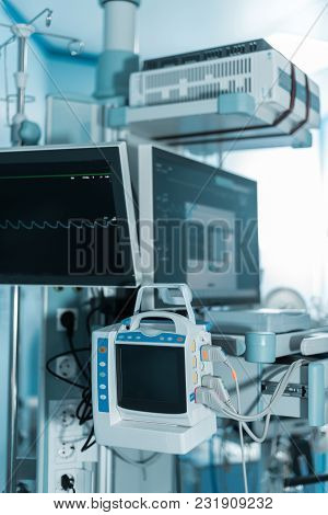 Medical Equipment With Screens In Surgery Room