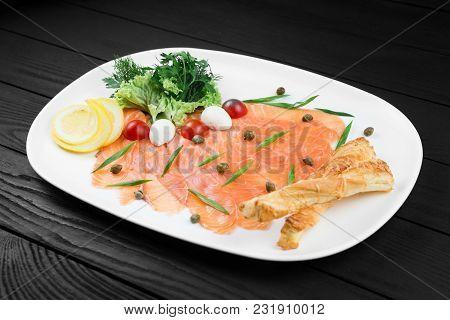 Tasty Smocked Salmon Homemade On White Plate