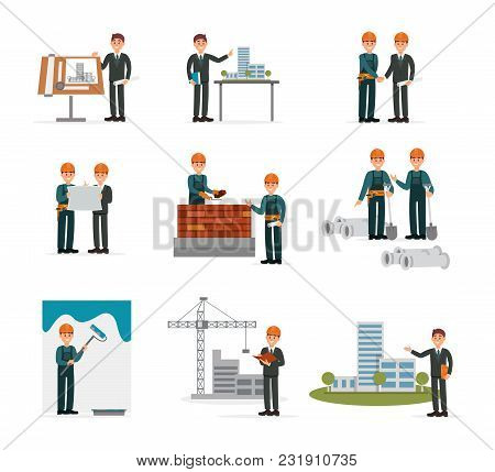 Construction Ser, Engineering Industrial Workers, Builders Working With Building Tools And Equipment