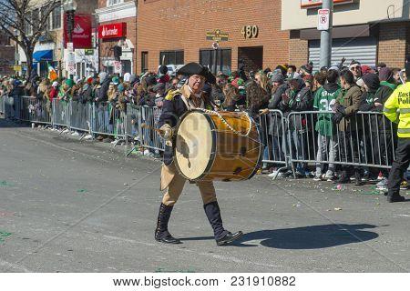 BOSTON, USA - Mar. 18, 2018: Drummer in Saint Patrick's Day Parade in Boston, Massachusetts, USA.