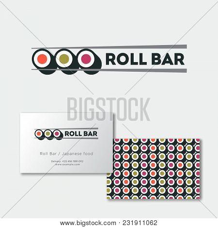 Sushi Roll Bar Flat Logo. Japanese Food Emblem. Rolls And Chopsticks On A Light Background. Identity