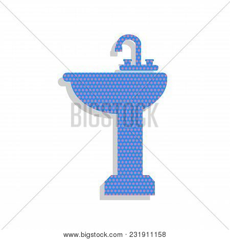 Bathroom Sink Sign. Vector. Neon Blue Icon With Cyclamen Polka Dots Pattern With Light Gray Shadow O