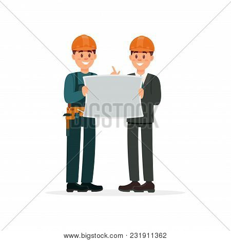 Construction Engineer Or Architect And Foreman In Hardhats With Architectural Plan Vector Illustrati