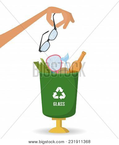 Man Throws Garbage Into A Glass Container On White Background. Ecology And Recycle Concept. Vector I