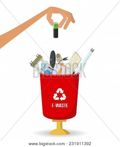 Man Throws Garbage Into A  E-waste Container On White Background. Ecology And Recycle Concept. Vecto