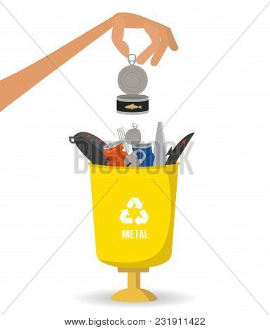 Man Throws Garbage Into A Metal Container On White Background. Ecology And Recycle Concept. Vector I