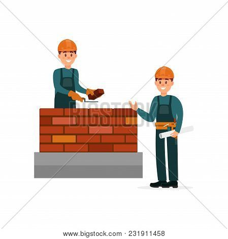 Construction Worker Bricklayer Making A Brickwork With Trowel And Cement Mortar, Foreman Supervising