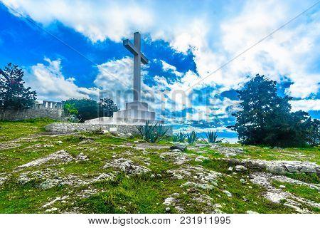 Scenic View At Famous Landmark On Marjan Hill, Split City, Croatia.