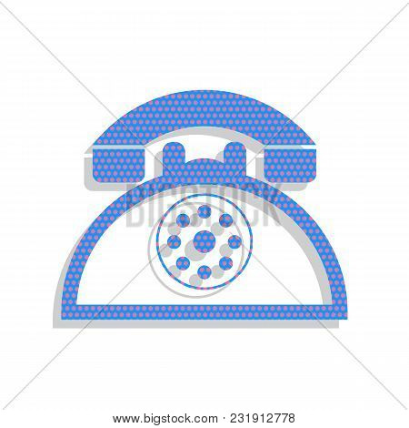 Retro Telephone Sign. Vector. Neon Blue Icon With Cyclamen Polka Dots Pattern With Light Gray Shadow