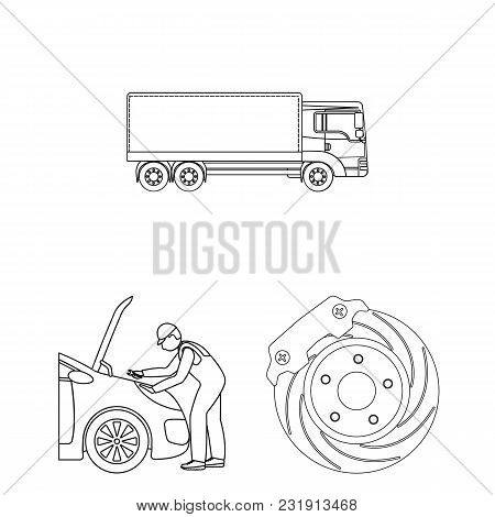 Car, Lift, Pump And Other Equipment Outline Icons In Set Collection For Design. Car Maintenance Stat