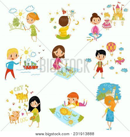Cute Little Boys And Girls Drawing With Color Paints And Pencils Set, Young Artists, Kids Activity R